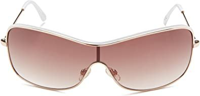 Amazon.com: Nine West Women's S03362rnj710 Shield Sunglasses,Gold & White,292 mm: Clothing