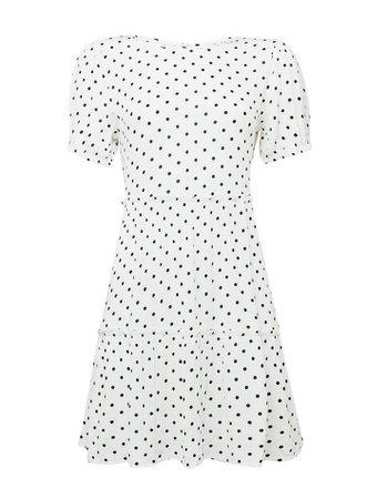 Ivory Spot Print Tier Smock Mini Dress | Miss Selfridge