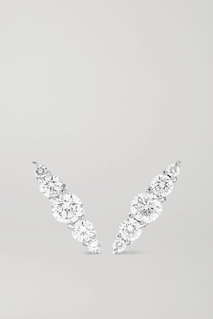 Gold Aria 18-karat white gold diamond earrings | Melissa Kaye | NET-A-PORTER