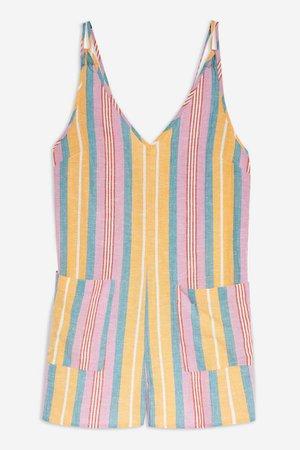 Stripe Romper | Topshop pink