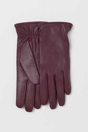 Leather Gloves - Burgundy - Ladies   H&M US