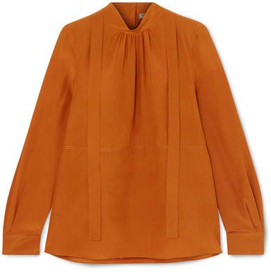 Pussy-bow Silk Crepe De Chine Blouse - Orange