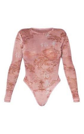 Shape Rose Oriental Mesh Long Sleeved Bodysuit | PrettyLittleThing