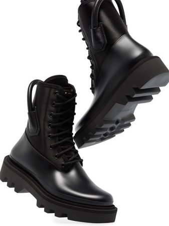Shop black Givenchy satin panel lace-up combat boots with Express Delivery - Farfetch