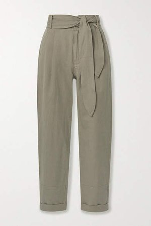 Bendita Linen And Cotton-blend Twill Tapered Pants - Army green