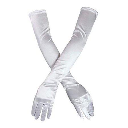 "DreamHigh Women's Party Wedding 21"" Long Satin Finger Gloves Black at Amazon Women's Clothing store:"