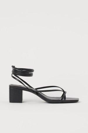 Tie-strap Sandals - Black