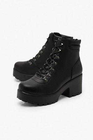 Padded Cuff Chunky Hiker Boots | Boohoo