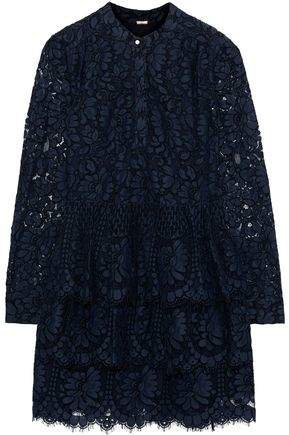 Tiered Cotton-blend Corded Lace Mini Dress