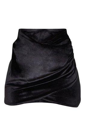 Black Velvet Wrap Over Ruched Mini Skirt | PrettyLittleThing