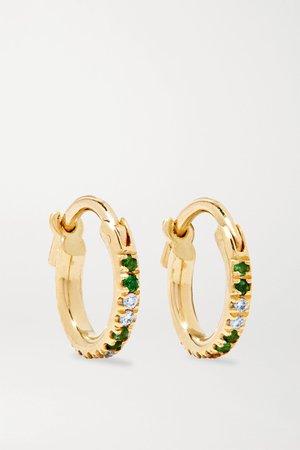 Gold 18-karat gold, tsavorite and diamond hoop earrings | Ileana Makri | NET-A-PORTER