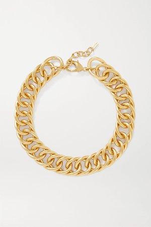 Gold Gold-tone necklace | SAINT LAURENT | NET-A-PORTER