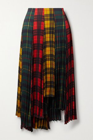 Asymmetric Pleated Checked Twill Skirt - Red