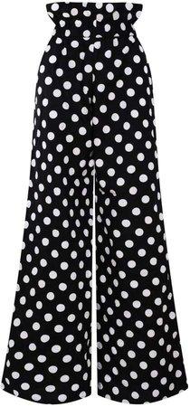 Zalinah White - Regular Alyssa Polka Dot Smart Casual Paperbag Cotton Pants With Elasticated Waistline
