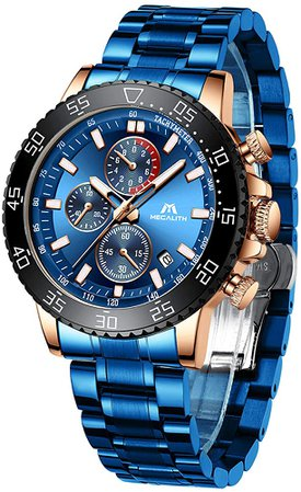 Amazon.com: MEGALITH Mens Watches with Stainless Steel Waterproof Analog Quartz Fashion Business Blue Chronograph Watch for Men, Auto Date: Watches