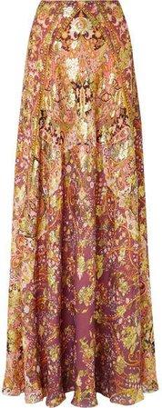 Printed Fil Coupé Silk-blend Georgette Maxi Skirt - Plum