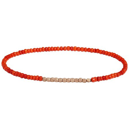 Vintage Rose Gold and Dark Orange Beaded Bracelet