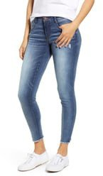 Luxe Touch Fray Hem Ankle Skinny Jeans