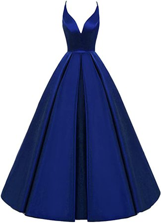 Lemai Backless Deep V Neck Simple Long A Line Prom Gowns Evening Dresses Royal Blue US 16 at Amazon Women's Clothing store