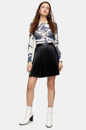 Black Pleated PU Mini Skirt