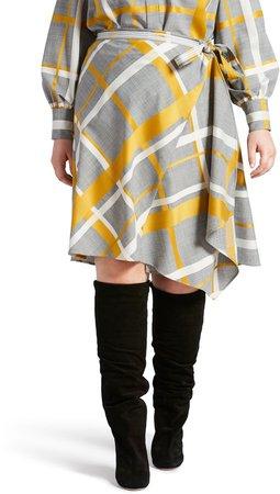 Plaid Wool Blend Wrap Skirt