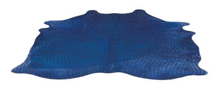 blue hide rug