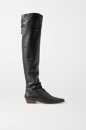 Black Leather knee boots | The Row | NET-A-PORTER