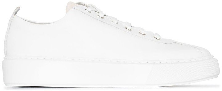 White Leather Low Top Sneakers