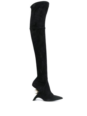 Black Nicholas Kirkwood Jazzelle Over-The-Knee Boots | Farfetch.com