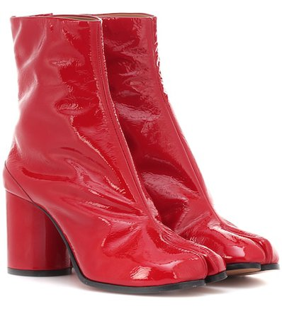 Tabi patent leather ankle boots