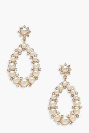 Teardrop Pearl Statement Earrings | boohoo