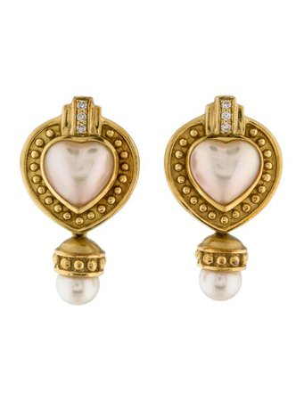 Penny Preville Diamond & Pearl Heart Earclips - Earrings - PPV20153 | The RealReal