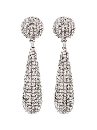 Kenneth Jay Lane, Bat Silver-Tone Crystal Drop Earrings