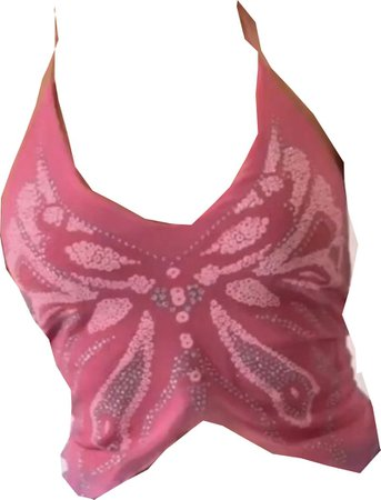 y2k pink butterfly halter top