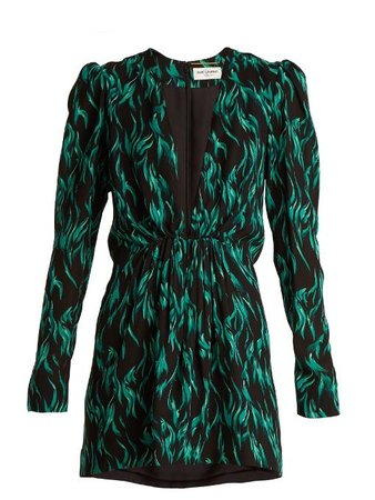 Saint Laurent Women's Peacock-print Deep V-neck Dress