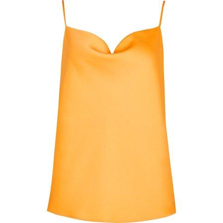 Orange cowl neck cami top | River Island