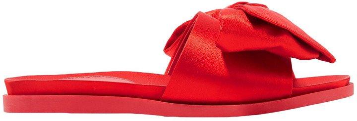 Bow-embellished Satin Slides