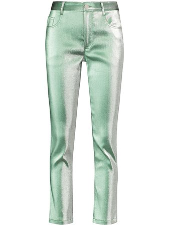 Shop green AREA metallic-finish straight-leg trousers with Express Delivery - Farfetch