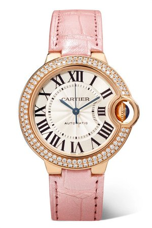 Cartier | Ballon Bleu de Cartier 33mm 18-karat pink gold, alligator and diamond watch | NET-A-PORTER.COM