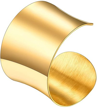 Amazon.com: U7 Women Chunky Grooved Wristband Statement Jewelry 18K Gold Plated Stainless Steel Polished Curve Cuff Bracelet Bangle: Jewelry
