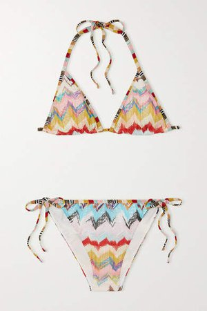 Crochet-knit Triangle Bikini - Blue