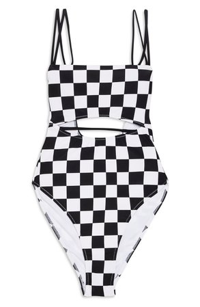 Topshop Checkerboard One-Piece Swimsuit