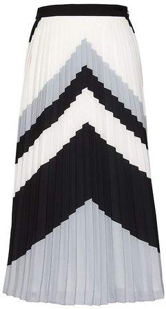 Chevron Pleated Midi Skirt