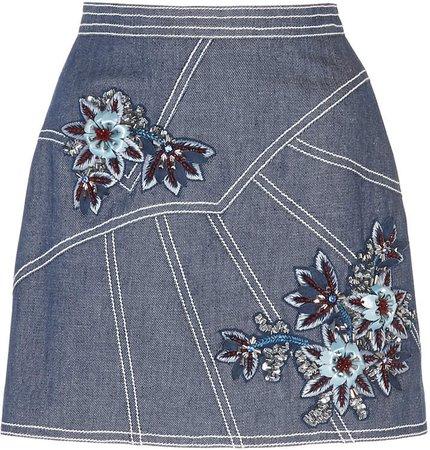 Floral-Embroidered Denim Skirt