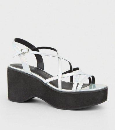 Multicoloured Iridescent Strappy Flatform Sandals | New Look