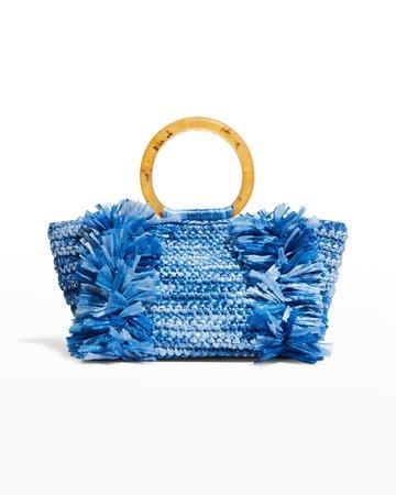 Carolina Santo Domingo Corallina Raffia Ring-Handle Raffia Tote Bag   Neiman Marcus