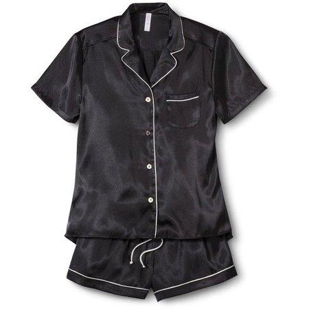 black satin pajama set