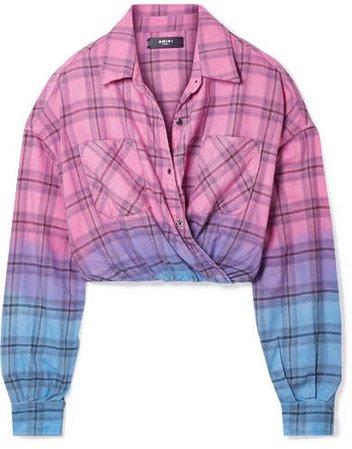 Wrap-effect Ombré Plaid Cotton-flannel Shirt - Pink