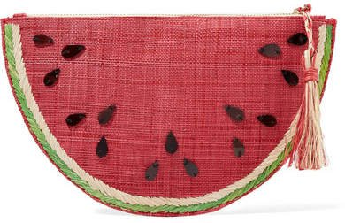 Frutta Embellished Straw Pouch - Red
