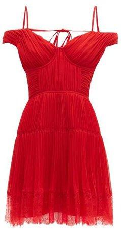 Self Portrait Off The Shoulder Pleated Chiffon Mini Dress - Womens - Dark Red